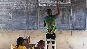 Ghanaian Teacher Draws Microsoft Word On A Blackboard