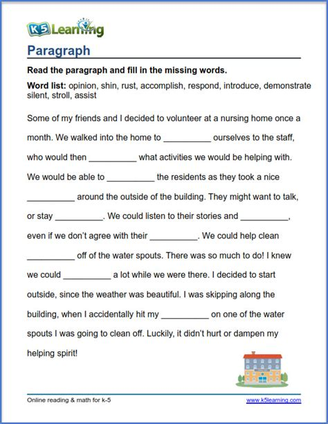 Grade 4 Vocabulary Worksheets  Printable And Organized By Subject  K5 Learning