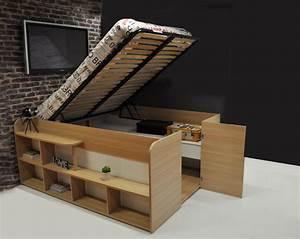 Lit Double Avec Rangement : chambre bois et blanc 5 lit double bois massif avec rangement mzaol digpres ~ Teatrodelosmanantiales.com Idées de Décoration
