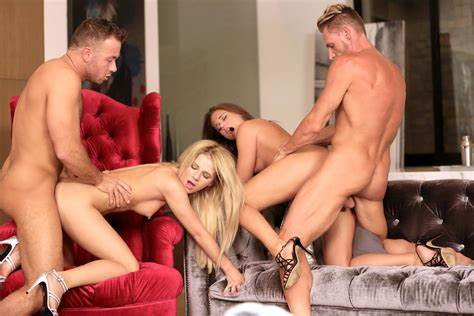 Pigtails Teenager In An Exciting Foursome