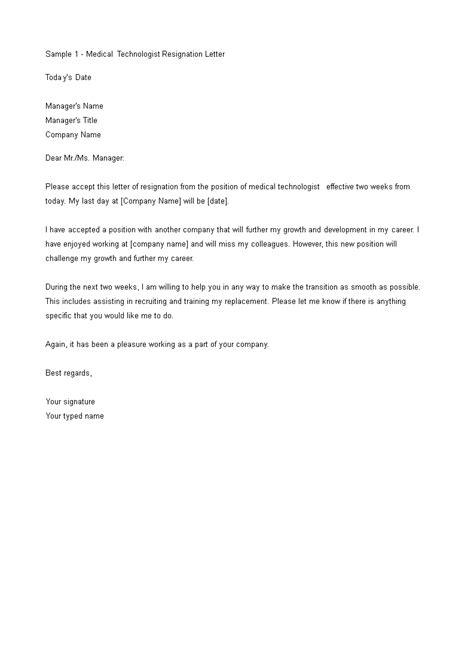Medical Technologist Resignation Letter   Templates at allbusinesstemplates.com