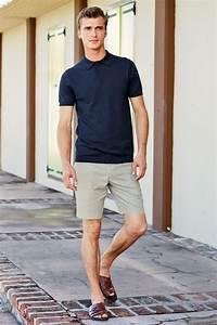 Menu0026#39;s Navy Polo Beige Shorts Dark Brown Leather Sandals ...