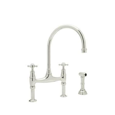 perrin and rowe kitchen faucet rohl perrin and rowe 2 handle bridge kitchen faucet in polished nickel u 4718x pn 2 the home depot