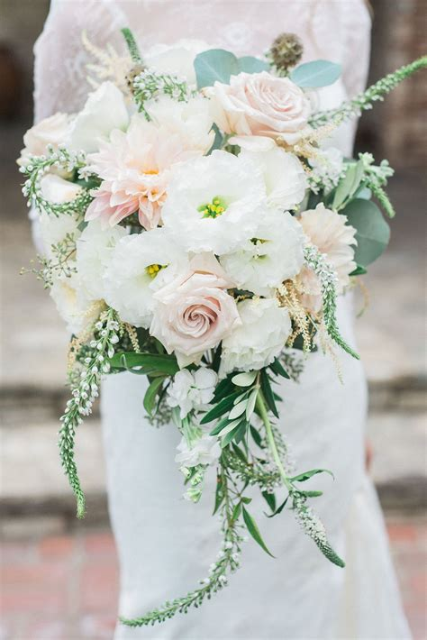 Cascading Peach And White Wedding Bouquet With Hints Of