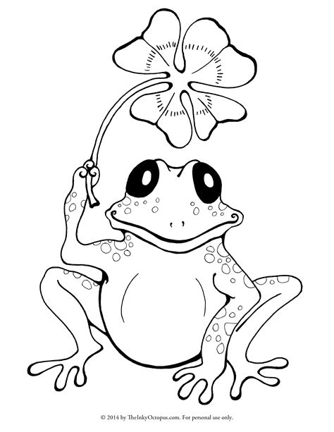 Printable Frog & Clover Coloring Page - The Inky Octopus