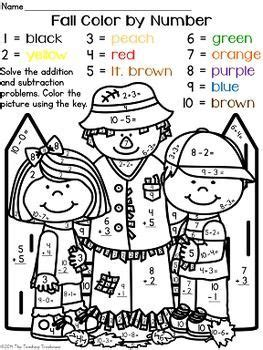 fallautumn color  number addition subtraction