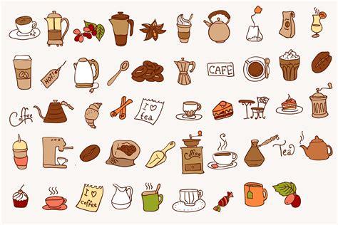 coffee tea icon  iriskana  creative market doodle