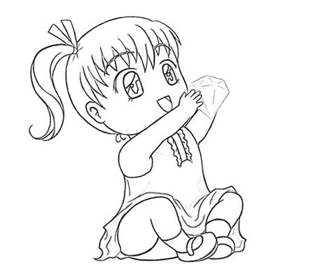 Chibi Girl Holding A Big Diamond Coloring Page