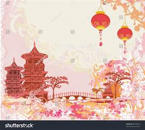 Old Paper Asian Landscape Chinese Lanterns Stock Vector ...