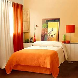 Light orenge color bedroom, orange bedroom walls on burnt
