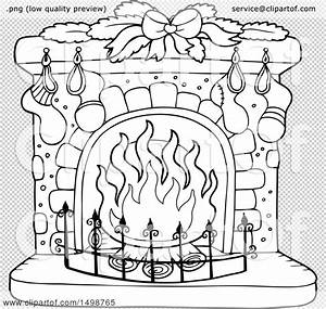 Clipart, Of, A, Black, And, White, Fireplace, With, Christmas, Stockings