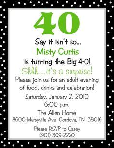 40th Birthday Invitation Wording Funny DolanPedia
