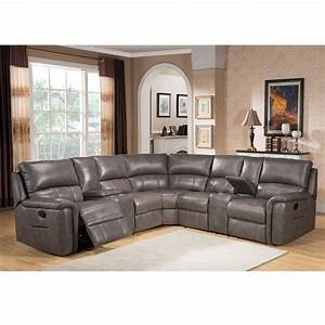 Cortez premium top grain gray leather reclining sectional for Sectional leather couch edmonton