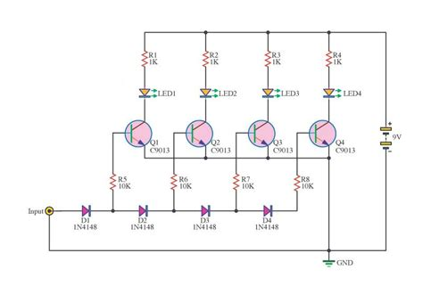 Led Meter Circuit Using Transistor Getcircuit