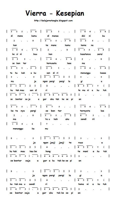 not angka lagu vierra kesepian kumpulan not angka not angka vierra kesepian