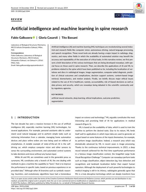 (PDF) Artificial intelligence and machine learning in