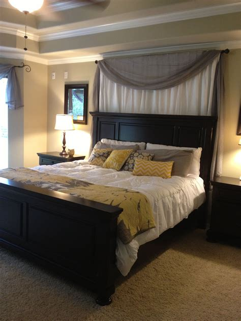 curtains white grey yellow master bedroom