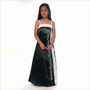 Tamsin Black and White Junior Bridesmaid Dress Ankle ...