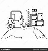 Drawing Lift Fork Forklift Truck Silhouette Getdrawings sketch template