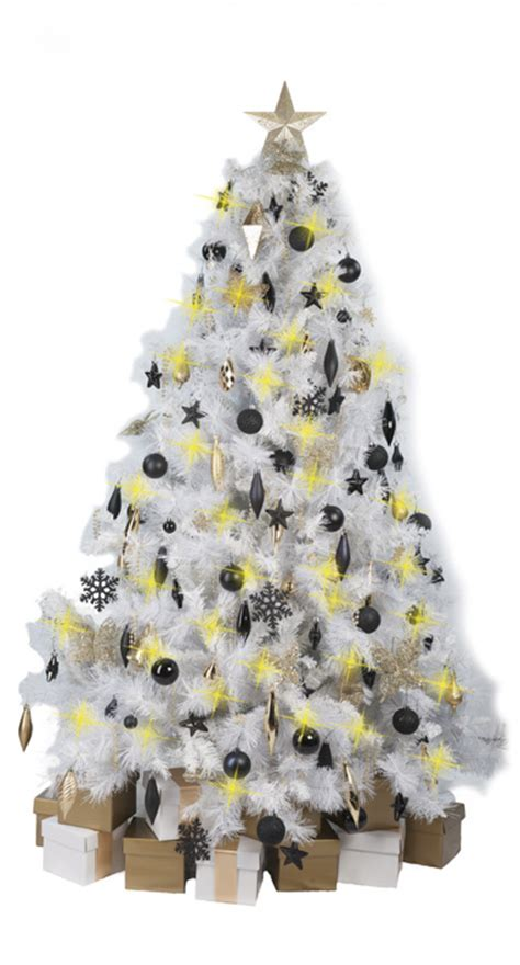 white christmas tree with black gold decorations