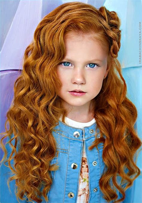 Ginger Girl With Bright Blue Eyes Beautiful Blonde And
