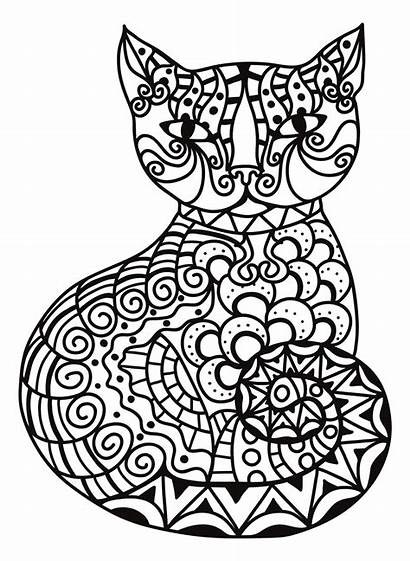 Zentangle Coloring Cat Pages Cats Printable Getcolorings