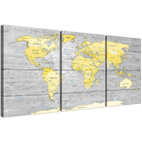 large yellow grey map of world atlas canvas wall art print abstract split 3 panel 3305