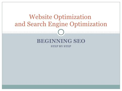 Seo Step By Step by Website Optimization Seo Step By Step