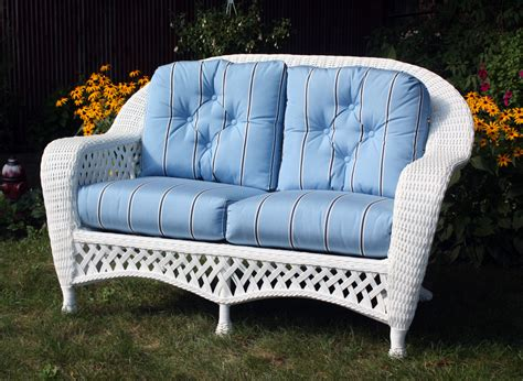 Outdoor Wicker Loveseat by White Outdoor Wicker Loveseat