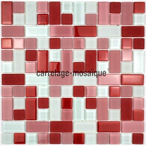 carrelage mosaique verre faience salle de bain cubic rouge