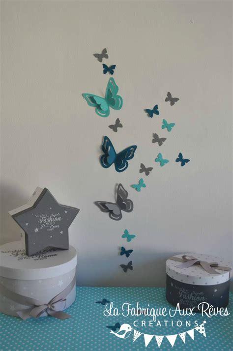 chambre bébé gris et bleu stickers papillons 3d turquoise gris bleu canard pétrole