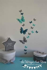 Deco Chambre Bebe Bleu : stickers papillons 3d turquoise gris bleu canard p trole d coration chambre b b turquoise ~ Teatrodelosmanantiales.com Idées de Décoration