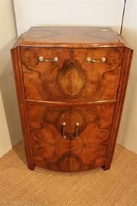 Charming Art Deco Figured Walnut Cocktail Cabinet ...