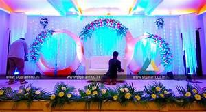 Reception stage decoration at Atithi Hotel, S V Patel