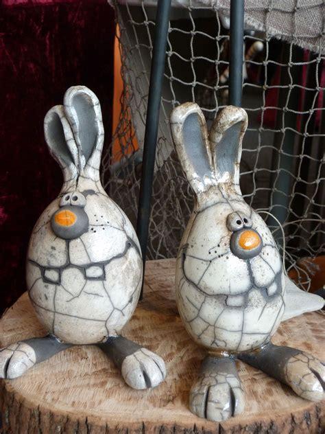 rabbits fruehling raku pottery pottery und ceramic clay
