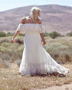 off the shoulder lace chiffon boho wedding dress bohemian With boho wedding dress beach