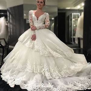 Gorgeous long sleeve v neck open back lace ball gown for Long sleeve ball gown wedding dress