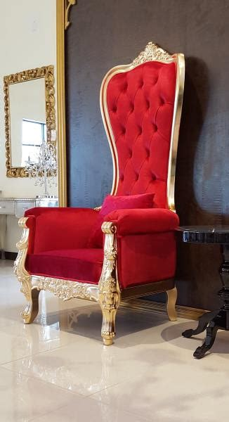chair high  chair queen high  chair red leather  gold frame ebay