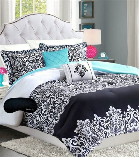 black pinch pleat comforter set bedding teen girl