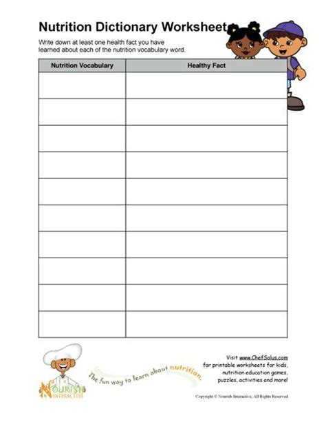 free printable worksheets elementary school nutrition