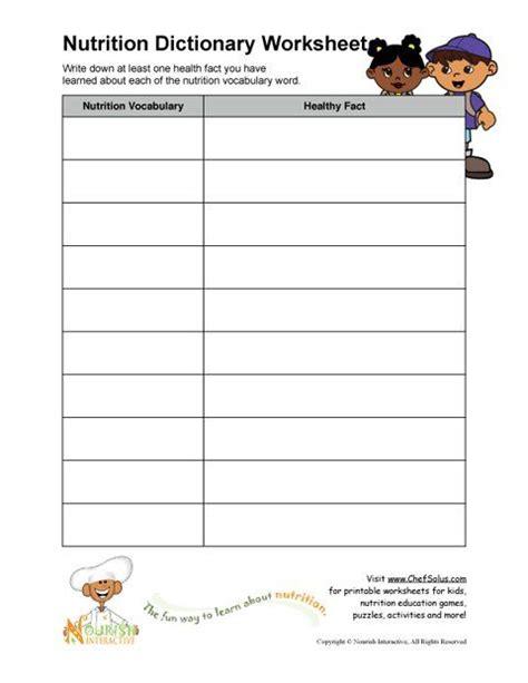 printable worksheets elementary school nutrition