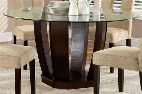 West Palm I Espresso Glass Top Round Pedestal Dining Table