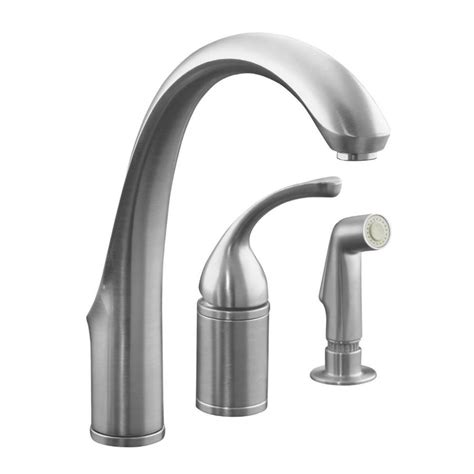 kitchen faucet with spray shop kohler forte brushed chrome 1 handle high arc kitchen