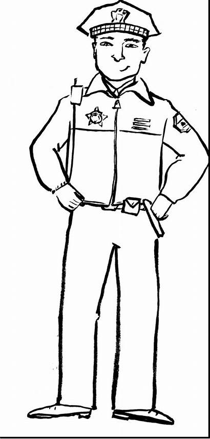 Police Coloring Officer Pages Drawing Community Helpers