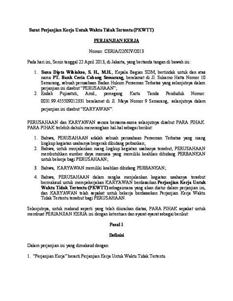 (DOC) Surat Perjanjian Kerja Untuk Waktu Tidak Tertentu (SUNU) | Sunu D. Wibiakso - Academia.edu