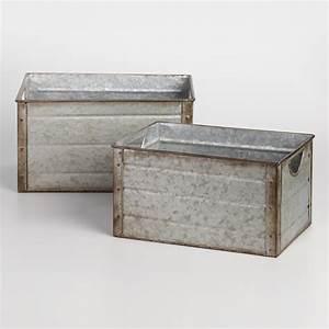 Galvanized Metal Walter Storage Bins World Market