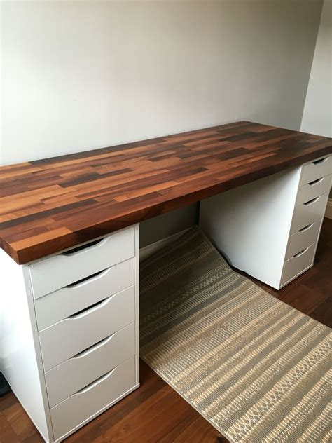 Grab the ikea expedit units and a lack shelf to build this standing desk that is looking amazingly beautiful and modern. IKEA Alex Cabinets with Walnut Solid Wood - Desk   Ikea ...