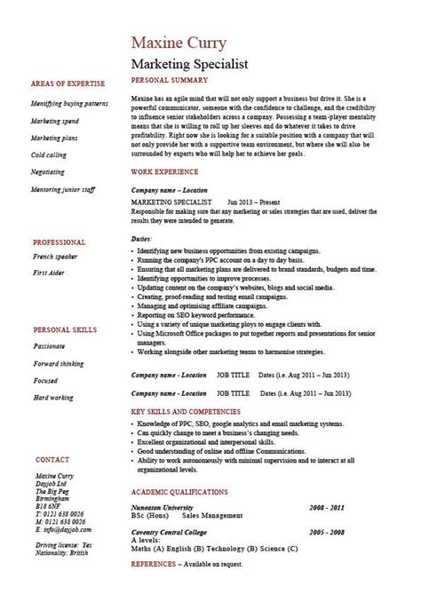 Specialist Resume by Marketing Specialist Resume Sales Academic Qualifications Exle Sle Key Skills Careers