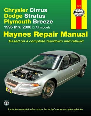 all car manuals free 2000 plymouth breeze electronic valve timing chrysler cirrus dodge stratus plymouth breeze haynes repair manual 1995 2000 hay25015