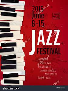 Jazz Music Festival, Poster Background Template. Keyboard ...